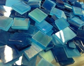 TITANIC OCEAN BLUE & Teal Mix Size Stained Glass Mosaic Tiles B32