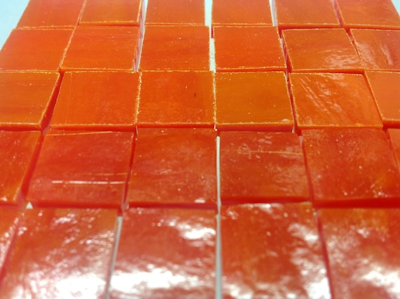 """RED-ORANGE POPPY Red Stained Glass Mosaic Tile Supply 50 1/2"""" A10"""