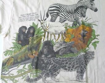 Vintage 1987 80s San Diego Zoo California T-Shirt