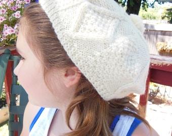 Vintage Cream Colored Wool Hat Beanie Newsboy Deadstock