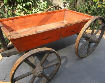 Antique Red Wooden Toy Wagon BEST OFFERS CONSIDERED