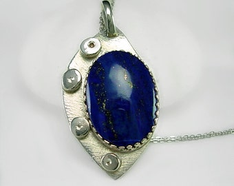 Brilliant AAA Lapis & Sterling Silver Pendant Necklace, Artisan Hand cut cabochon and  silver smith