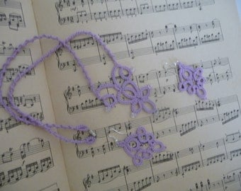 "Handcrafted jewelry set ""Mozart""- necklace and earrings - party cocktail - gift for her - OOAK - tatting - handmade jewelry"