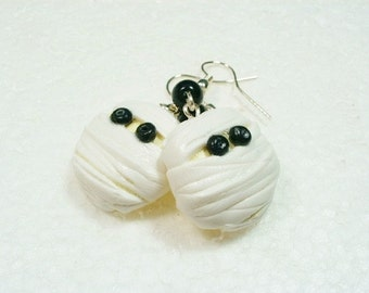 Mummy Cookie Earrings. Polymer Clay.