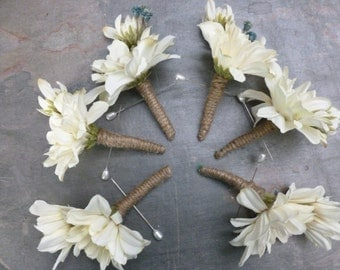 Rustic boutonniere, wrapped with burlap, customizable