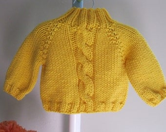 Handmade baby sweater......big, fat cable
