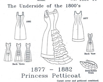 Victorian Underwear Pattern: Princess Petticoat Historical Multi Size Sewing Pattern 1880-10
