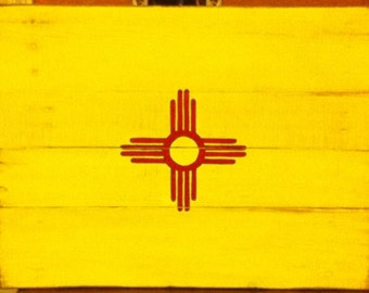 New Mexico State Flag on Pallet Wood