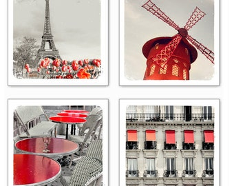 Paris in Red - Photography print set of 4 - Eiffel tower, cafe, paris architecture, windmill