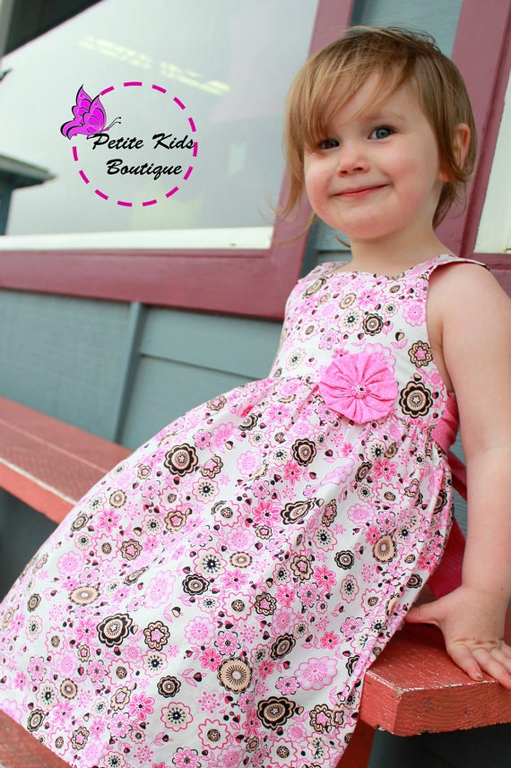 Tiffany Dress- Size 6M-8Y - PDF pattern-Easy sew instruction includes making Yoyo flower-Fully Lined bodice- Square neckline
