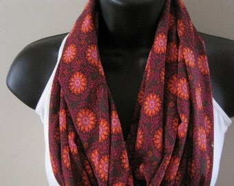 New Flower Print Infinity Scarf, Brown, Orange, Pink, Yellow, and Purple