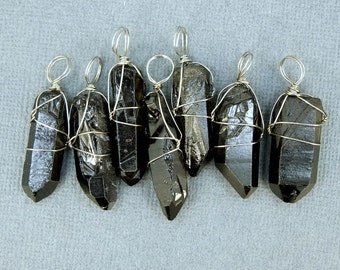 Gemstone Charm- Black Coated Crystal Quartz Point with Silver  plated Wire Wrap Charm Pendant (S20B11-03)