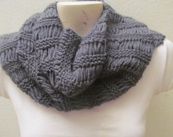 Knit Charcoal Chunky Cowl Scarf, Unisex Chunky Cowl Scarf