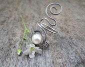 Wire Wrapped Fresh Water Pearl Ring, Gypsy Jewelry, Boho Beach, Beach Jewelry, Pearls