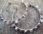 Wire Wrapped Hoops with Light Pink and Purple Beads