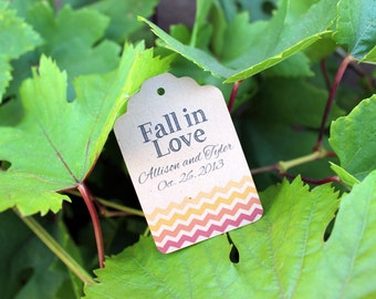 Fall in Love Wedding Tags for Favors and Gift - Red Yellow Orange Chevron on Brown Tag - Outdoor Nature Wedding 50
