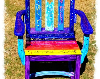 Rainbow Funky Vibrant Chair OOAK Uniquely Hand Painted Strong Good Quality  Wood Colourful Upcycled Furniture Art