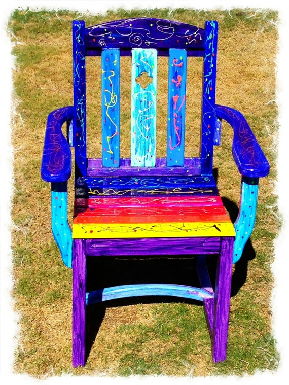 Rainbow funky vibrant chair ooak uniquely hand painted strong for Funky cafe furniture