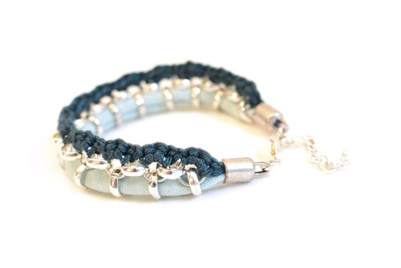 Light Blue Woven Fabric Bracelet, Statement Bracelet, Crochet Bracelet, Mint and Petrol Color Blocking, Silver Plated Rolo Chain