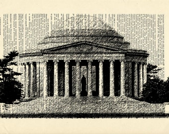 Washington DC Jefferson Memorial Printed on Upcycled Vintage Dictionary Paper - 7.75x11