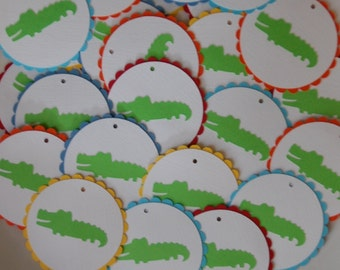 Alligator Favor Tags, Alligator Baby Shower, Alligator Birthday, Madras, 18 pcs