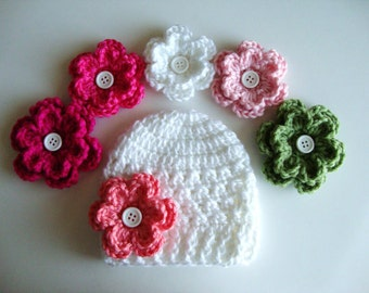Sale, Baby Crochet Hat/Beanie in White or Black with 4 Flower Options, Choose from 23 Flowers, Baby Hat, Newborn Hat