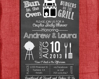Printable Bun in the Oven Burgers on the Grill Couples Baby Shower  4x6 or 5x7 Invitation and Twins invitation-Print at home DIY