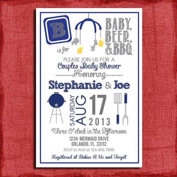 BBQ And Beer Couples Baby Shower 4x6 Or 5x7 Invitation-DIY By PuzzlePrints