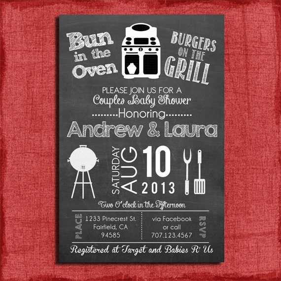 Printable Bun In The Oven Burgers On The Grill Couples Baby Shower 4x6 Or 5x7 Invitation And