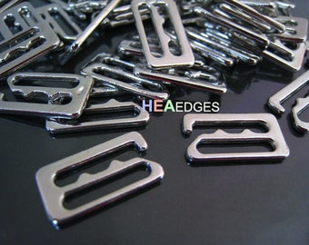6pcs Silver Buckle Clasp 13mm - Finding Silver Flat Leather Cord Bracelet Clasp Rectangle Slide Connector