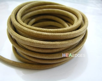 Cotton Wax Cord 1 Yard 5mm x 4mm - Light Brown Round Round Oval Cotton Wax Cords