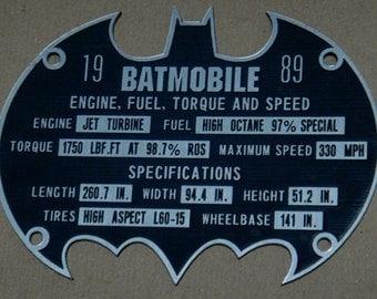Custom BATMOBILE Serial Data Plate 1989 BATMAN