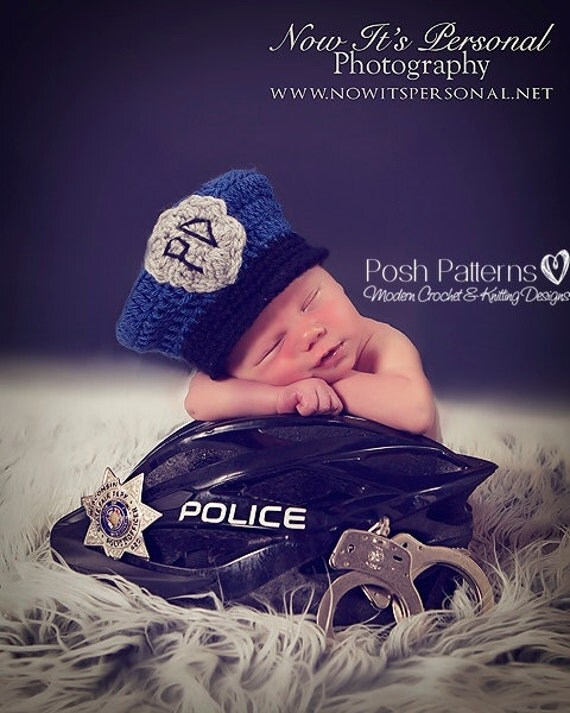 Crochet PATTERN - Police Man Policeman Hat - Crochet Hat Pattern - Crochet Patterns for Boys - 3 Sizes Newborn to 12 Months - PDF 274