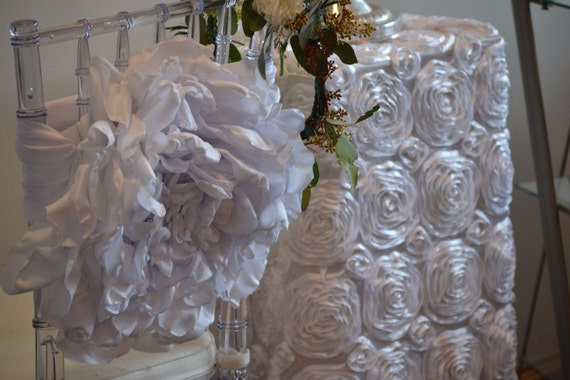 Wedding Chair Cover Flower Sash RENT OR PURCHASE