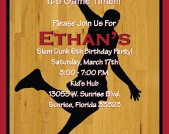 Slam Dunk Birthday INVITATION Football Printed or Digital/Printable File
