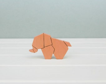 Elephant Brooch Wooden Pin Origami Brooch Animal Brooch Pin Made to Order