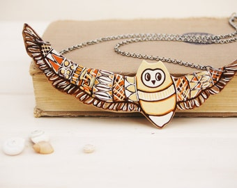 Earth Tone Owl Necklace Woodland Jewelry Bird Totem  Tribal Necklace  Sepia Brown -Made to Order