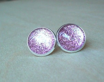 20% OFF -- Glittering Light Pink color Stud Earrings/Great for Party,beautiful gift for her