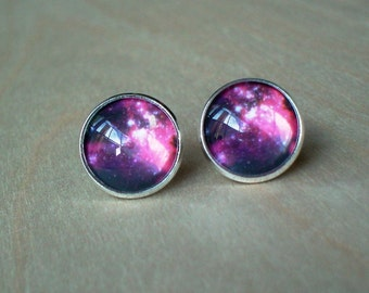 20% OFF -- Galaxy Cosmos Hot Pink Red /Black  Cabochon Stud Earrings, Gift Idea