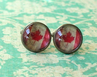 20% OFF -- 16 mm Old vintage Canada Canadian flags Cuff Links ,Mens Accessories, perfect gift idea