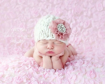 3-6 mos hat - Glamour Beanie line 'AMOR' - knit baby hat - detachable flower clip - photo prop - knitbysarah - Stitches by Sarah