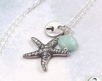 Silver Starfish Necklace, Amazonite Blue Necklace, Personalized  Necklace, Starfish Tropical Necklace, sterling silver, initial, stamped