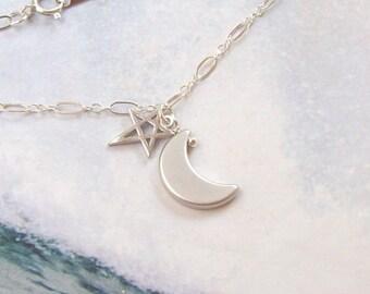 Crescent Moon Bracelet, Moon and Star Bracelet, sterling silver, rhodium, open, minimal, small anklet, simple, matte, summer, astrology