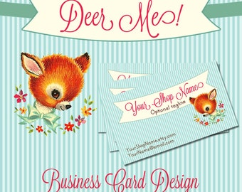 "Business Card Design Adorable, Vintage Deer Pre-made Design ""Deer Me"""