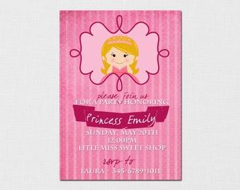 Printable DIY Birthday Invitation - Pink and Purple Princess Invitation, Little Girl, Birthday Party
