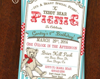 Teddy Bear Picnic Invitation Teddy Bear Picnic Party Teddy Bear Printable Invitation 5x7