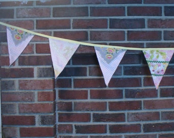 Bunting Banner Vintage Hankie Birthday Wedding Made to Order By the Foot