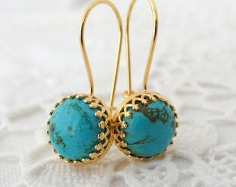 Turquoise earrings, drop earrings, Gold turquoise dangle earrings, Vintage earrings,  Bridesmaids gift, bridesmaids earrings