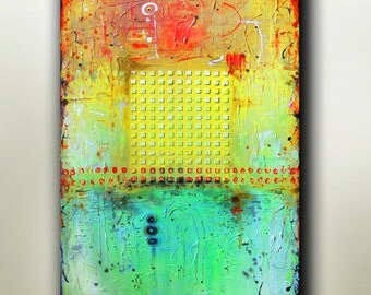 """Art Painting Abstract painting  Original painting Canvas painting Yellow painting """"Summer""""  36''x24'' Acrylic on Canvas"""