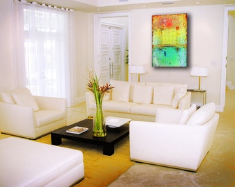 "Art Painting Abstract painting  Original painting Canvas painting Yellow painting ""Summer""  36''x24'' Acrylic on Canvas"
